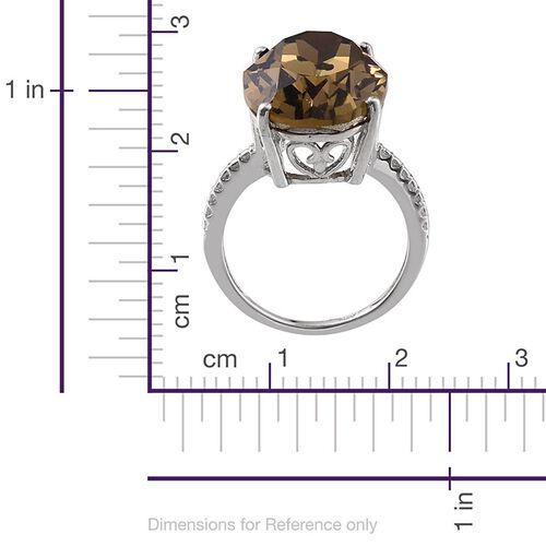 J Francis Crystal from Swarovski - Smoky Quartz Colour Crystal (Ovl) Ring in Platinum Overlay Sterling Silver