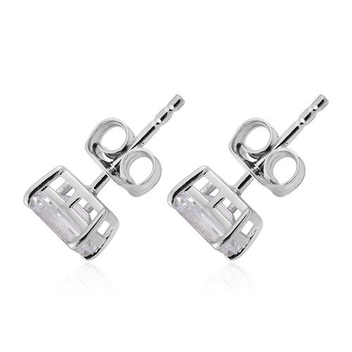 J Francis - 9K White Gold Octagon Stud Earrings (with Push Back) Made with SWAROVSKI ZIRCONIA