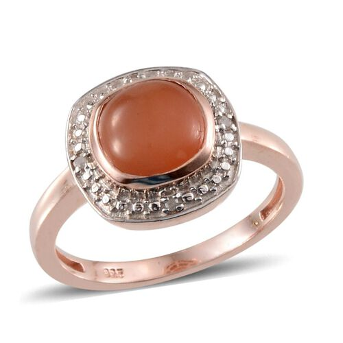 Mitiyagoda Peach Moonstone (Cush 2.50 Ct), Diamond Ring in Rose Gold Overlay Sterling Silver 2.520 Ct.