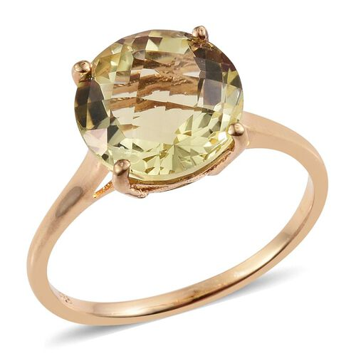 Checkerboard Cut Natural Ouro Verde Quartz (Rnd) Solitaire Ring in 14K Gold Overlay Sterling Silver 6.000 Ct.