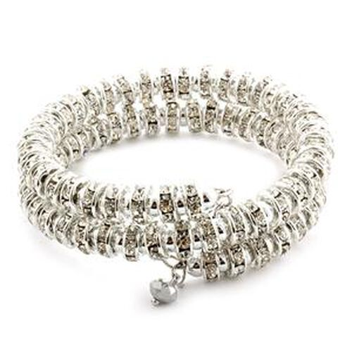White and Silver Austrian Crystal Bracelet  0.002  Ct.