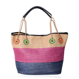 Beige, Fuchsia and Nevy Blue Colour Tote Bag (Size 31x30x16 Cm)