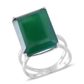 Very Rare Size Verde Onyx (Oct) Ring in Rhodium Plated Sterling Silver 20.000 Ct.
