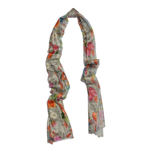 100% Modal Orange and Pink Colour Floral Pattern Grey Colour Scarf (Size 200x70 Cm)