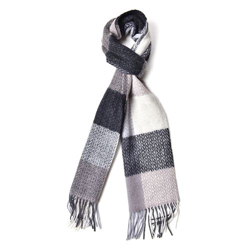100% Wool Black, Grey and White Colour Chevron and Checker Pattern Scarf with Tassels (Size 200X30 Cm)