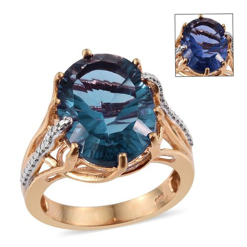 Colour Change Fluorite (Ovl) Ring in 14K Gold Overlay Sterling Silver 10.500 Ct.