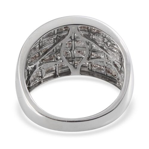 Diamond (Bgt) Ring in Platinum Overlay Sterling Silver 1.000 Ct.