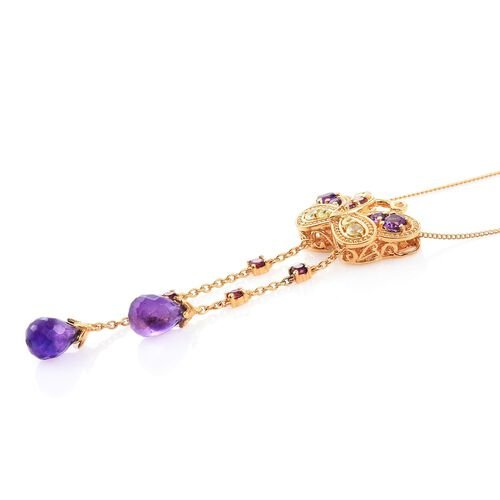 GP Amethyst, Rhodolite Garnet, Hebei Peridot and Kanchanaburi Blue Sapphire Butterfly Pendant with Chain in 14K Gold Overlay Sterling Silver 5.000 Ct.