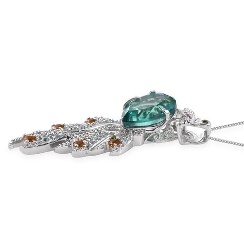 Stefy Peacock Quartz (Pear 8.15 Ct), Citrine, Russian Diopside, Paraibe Apatite, Pink Sapphire and White Topaz Pendant With Chain in Platinum Overlay Sterling Silver 9.250 Ct.