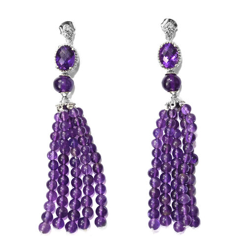 Designer Inspired- AAA Amethyst and Natural Cambodian Zircon Tassel Earrings (with Push Back) in Platinum Overlay Sterling Silver 40.000 Ct. Number of Gemstones 126