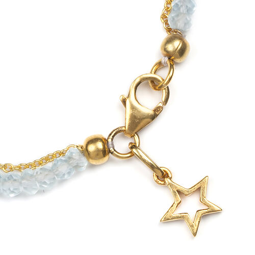 Sky Blue Topaz Dual Strand Gold Plated Friendship Bracelet with Star Charm