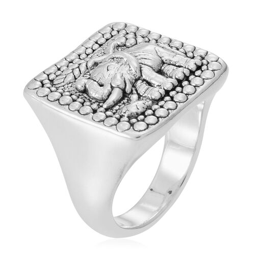 Thai Sterling Silver Elephant Ring, Silver wt 5.41 Gms.