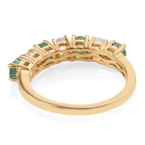 Brazilian Emerald (Rnd), Ethiopian Welo Opal Ring in 14K Gold Overlay Sterling Silver 1.000 Ct.