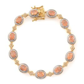 Tanzanian Sun Stone (Ovl), White Topaz Bracelet in 14K Gold Overlay Sterling Silver (Size 7.5) 9.000 Ct.