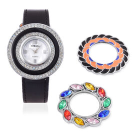 Time Piece Pick Of the Show Deal - STRADA Japanese Movement Mother of Pearl Watch With Interchangeable Bezels - Black Strap
