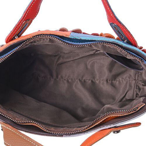100% Genuine Leather Multi Colour 3D Flower Adorned Tote Bag with Shoulder Strap (Size 32x29.5x26x10 Cm)