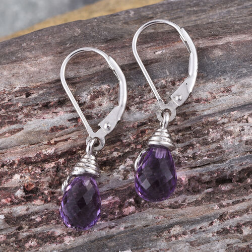 Checkerboard Cut AA Lusaka Amethyst Lever Back Earrings in Platinum Overlay Sterling Silver 4.500 Ct.