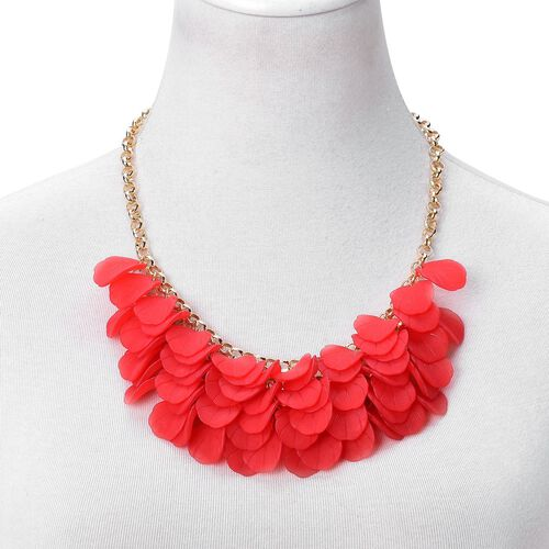 Red Colour Flower Petals Necklace (Size 20 with 2.5 inch Extender) in Yellow Gold Tone