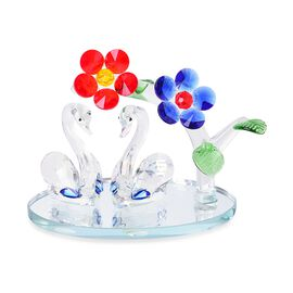 Christmas Cracker Deal- Home Decor - Blue, Yellow and Multi Colour Austrian Crystal Flowers and Swan with Red Feather Figurine (Size 14X13 Cm)
