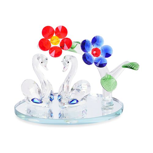 Home Decor - Blue, Yellow and Multi Colour Austrian Crystal Flowers and Swan with Red Feather Figurine (Size 14X13 Cm)
