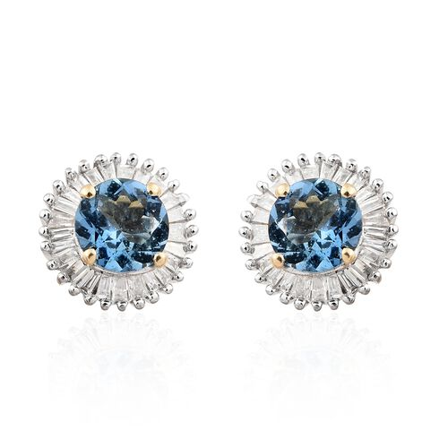 14K Yellow Gold AA Santa Maria Aquamarine (Rnd), Diamond Stud Earrings (with Push Back) 1.250 Ct.