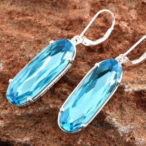 J Francis - Crystal from Swarovski - Light Turquoise Crystal Lever Back Earrings in Sterling Silver