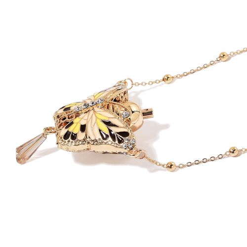 Turkish Style Perfume Bottle Necklace Simulated Golden Pearl, Simulated Champagne Diamond and White Austrian Crystal Black, Yellow and Beige Colour Enameled Butterfly Size 27) in Yellow Gold Tone