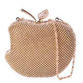 White Austrian Crystal Embellished Golden Colour Apple Design Clutch Bag with Removable Chain Strap in Gold Tone (Size 14X12 Cm)