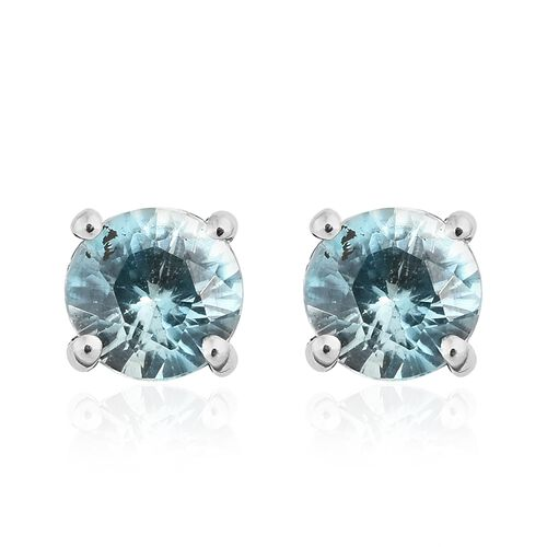 9K White Gold AAA Cambodian Blue zircon (Rnd) Stud Earrings (with Push Back) 1.000 Ct.