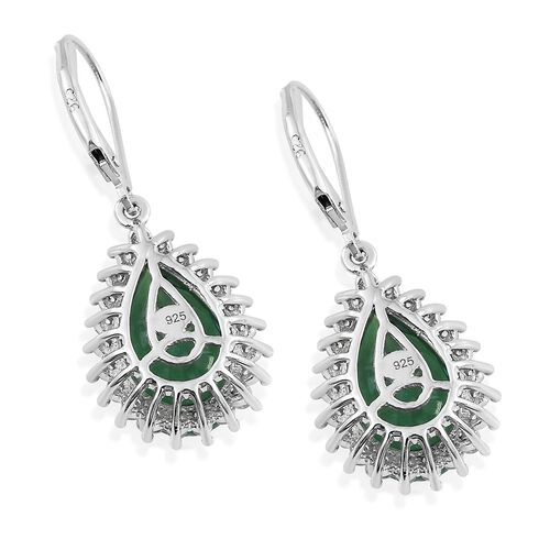 Limited Edition-Peacock Quartz (Pear), Natural Cambodian Zircon Lever Back Earrings in Platinum Overlay Sterling Silver 9.750 Ct.