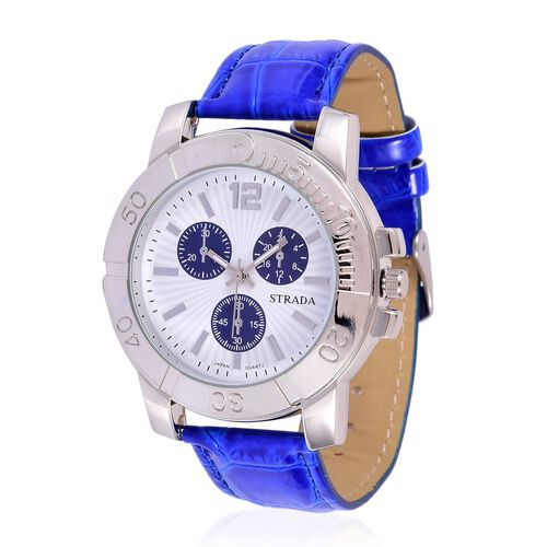 STRADA Japanese Movement White Dial Water Resistant Watch in Silver Tone with Stainless Steel Back and Blue Strap
