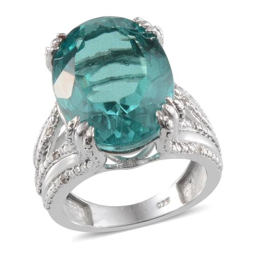 Paraiba Tourmaline Colour Quartz (Ovl 12.70 Ct), Diamond Ring in Platinum Overlay Sterling Silver 12.750 Ct.