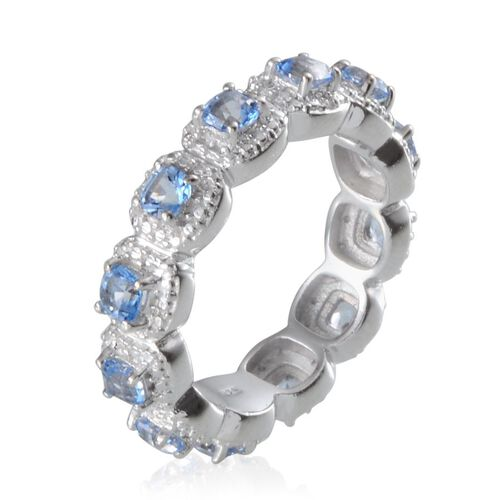Signity Sum Blue Topaz (Cush), Diamond Full Eternity Ring in Platinum Overlay Sterling Silver 2.010 Ct.