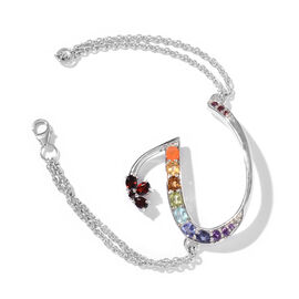 Paraiba Apatite (Ovl), Mozambique Garnet, Citrine, Jalisco Fire Opal, Tanzanite and Multi Gemstone Initial U Bracelet (Size 9 with Extender) in Platinum Overlay Sterling Silver 5.609 Ct.