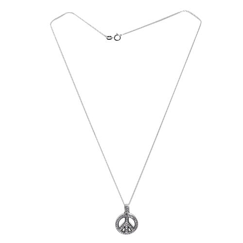 Close Out Deal Austrian Crystal (Rnd) Symbol of Peace Pendant With Chain in Rhodium Plated Sterling Silver