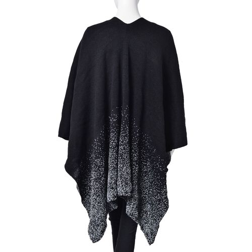 Designer Inspired-Black and Grey Colour Knitted Kimono (Size 120X80 Cm)