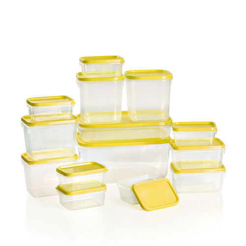 Set of 14 Food Storage Containers Freezer and Dishwasher Safe- Yellow (1800ml, 750ml, 600ml -2, 400ml -2, 250ml - 2, 125ml - 6) - Yellow