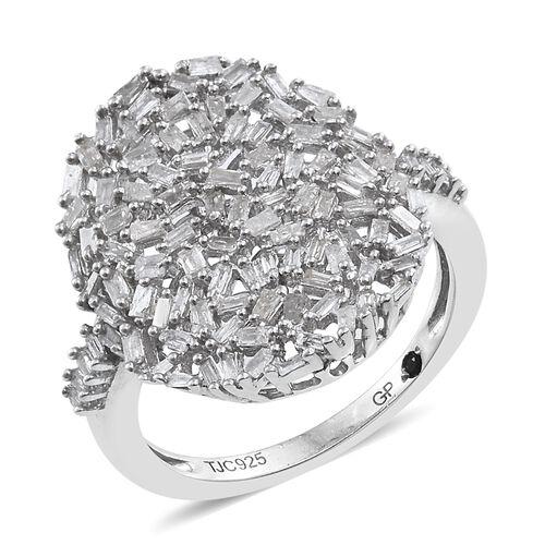 GP Diamond (Bgt), Kanchanaburi Blue Sapphire Cluster Ring in Platinum Overlay Sterling Silver 0.770 Ct.