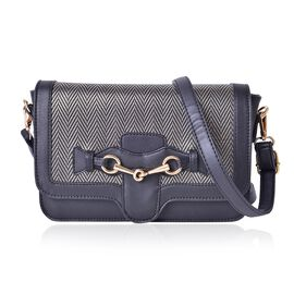 Black Colour Crossbody Bag with Horse Bit at Front and Adjustable and Removable Shoulder Strap (Size 24X16X6.5 Cm)