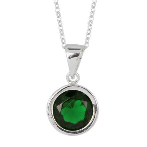 ELANZA AAA Simulated Emerald (Rnd) Solitaire Pendant With Chain in Rhodium Plated Sterling Silver