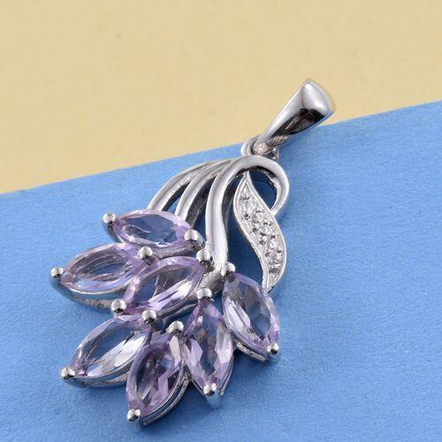 Rose De France Amethyst (Mrq) Pendant in Platinum Overlay Sterling Silver 2.500 Ct.