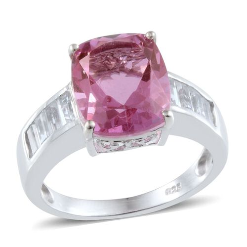 Kunzite Colour Quartz (Cush 6.00 Ct), White Topaz Ring in Platinum Overlay Sterling Silver 7.250 Ct.