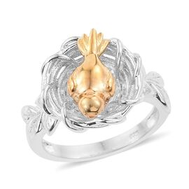 Nesting Bird 2 Tone Silver Ring in Platinum and Gold Overlay 7.00 Gms.