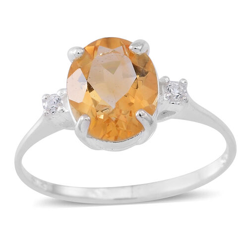 Citrine (Ovl 2.20 Ct), Natural White Cambodian Zircon Ring in Sterling Silver 2.250 Ct.