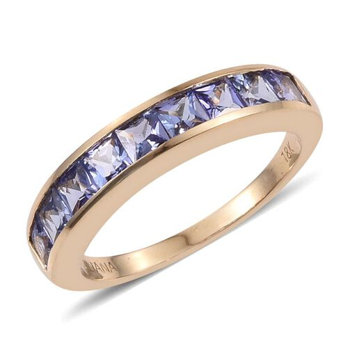ILIANA 18K Y Gold AAA Tanzanite (Sqr) Half Eternity Band Ring 1.250 Ct.