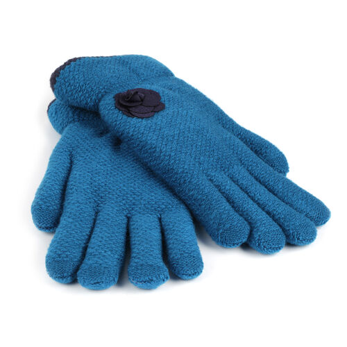 Sherpa Lined Blue Colour Gloves with Navy Flower (Size 20 Cm)