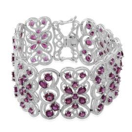 Rhodolite Garnet (Pear) Bracelet (Size 7.5) in Rhodium Plated Sterling Silver 43.000 Ct.