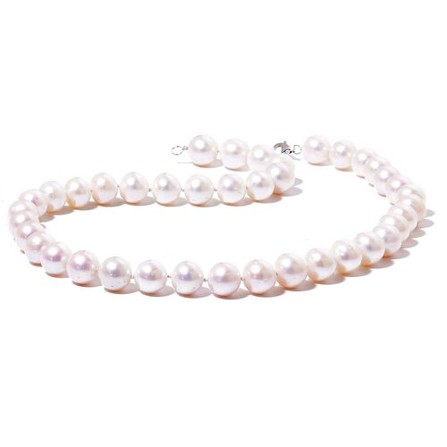 ILIANA 18K White Gold AAAA Fresh Water White Pearl  Necklace (Size 18)