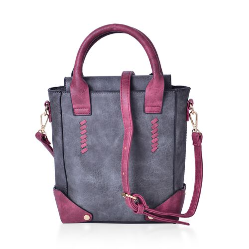 Designer Inspired - Grey and Dark Fuchsia Colour Tote Bag with Adjustable and Removable Shoulder Strap (Size 25X20X8 Cm)