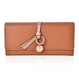 Tan Colour Ladies Wallet with Multiple Card Slots and Knot Charm (Size 19X9X3 Cm)
